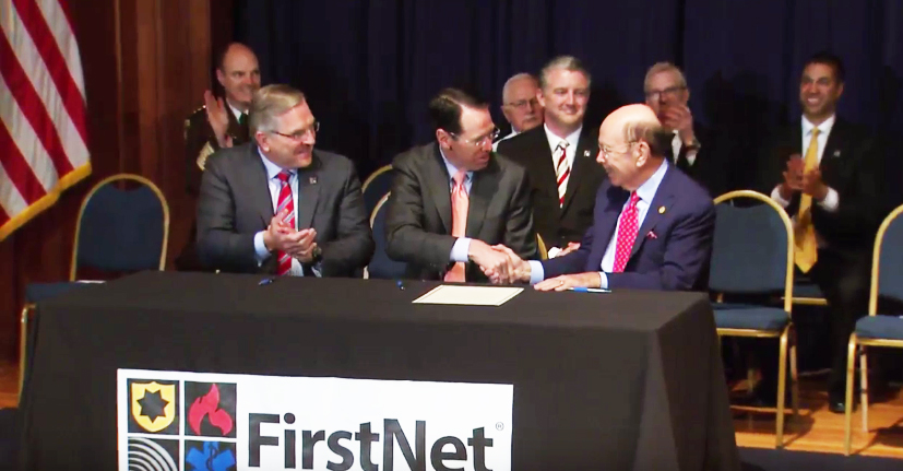 L-R Mike Poth, CEO of FirstNet; Randall Stephenson, CEO of AT&T, Wilbur Ross, commerce secretary