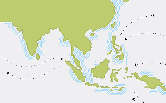 Asia cable map illustration